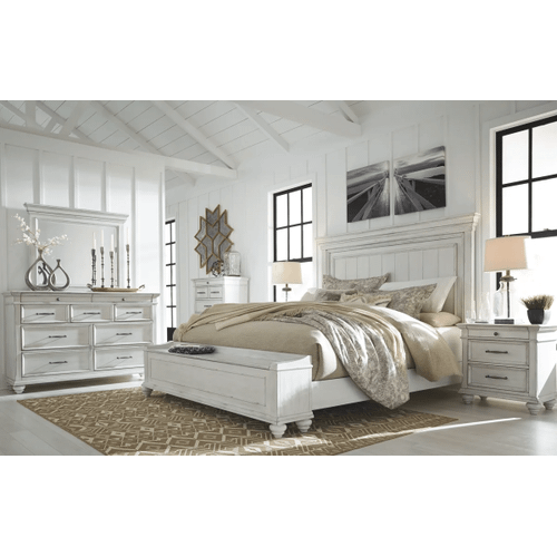 Kanwyn - Whitewash - 7 Pc. - Dresser, Mirror, Chest, Nightstand & King Panel Bed with Storage