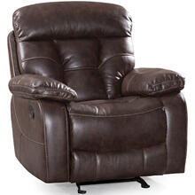 Peoria Traditional Leather Recliner Glider with Pillow Arms