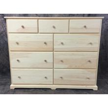 """Maine Made Traditional 9 Drawer Dresser 60"""" Pine Unfinished"""