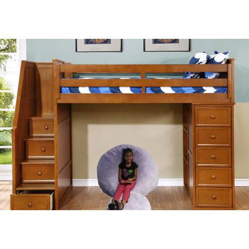 Multi-Purpose Loft - Twin Loft Bed - Rustic Pecan with Purple Lazy Bag