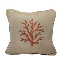 "Coral Embroidery 18""x18"" - Canvas Heather Beige"