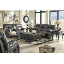 See Details - Ashley Dunwell Power Reclining Loveseat in Steel with Adjustable Headrest