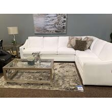 White L9 Leather Sectional w. Power Reclining