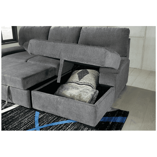 Yantis  Gray - 2-Piece Sleeper Sectional with Storage