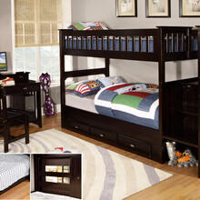 Espresso Stair Stepper Twin over Twin Bunk Bed