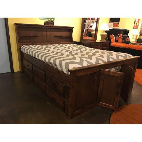 """Queen Captains Bed W"""" 6 Drawers American Chestnut"""