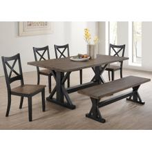 6 Piece Rustic X-Base Dining Room Set