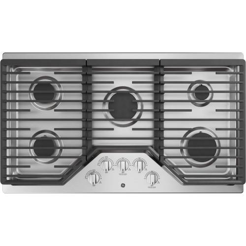 """GE 36"""" Stainless Steel Gas 5 Burner Cooktop"""