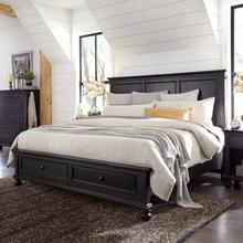 King Storage Panel Bed Complete Oxford Black