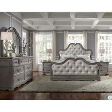 King Upholstered Bed, Dresser, Mirror & 2 Nightstands