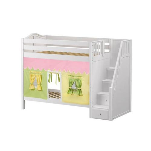 Maxtrix - High Bunk Bed with Staircase on End & Curtain in White finish