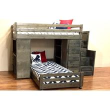 Bronco Loft Bed with Chest, Desk, Bottom Bed, & Staircase Rustic Grey