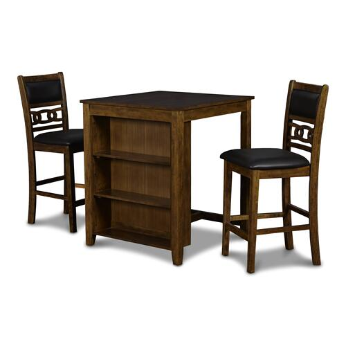 Gia 3 Pc Brown Counter Height Storage Table   2 Chairs by New Classic D1701-32