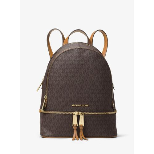 Micheal Kors Rhea Medium Signature Logo Backpack - Brown - 30S7GEZB1B-200