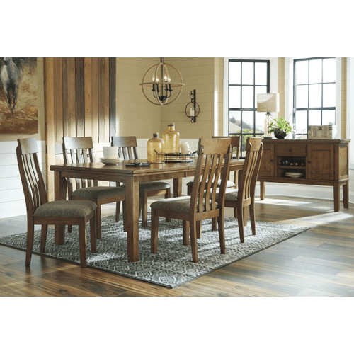 Flaybern - Brown - 7 Pc. - Rectangular Exrension Table & 6 Upholstered Side Chairs