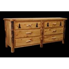 Ponderosa Pine 6 Drawer Dresser With Custom Engraving