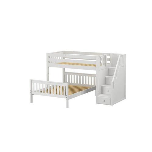 Maxtrix - Twin/Full Bunk w/ Staircase : Twin/Full : Slat In White Finish