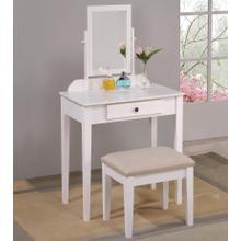 Iris Vanity Table & Stool (white)