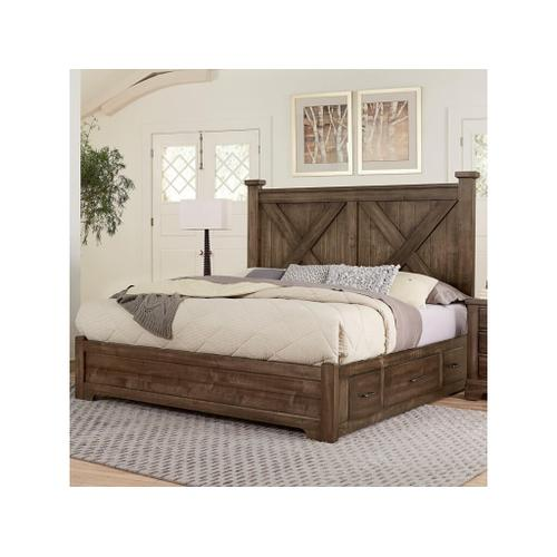 Queen Cool Rustic Mink X Bed with Single Side Storage