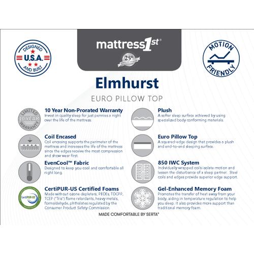 Elmhurst - Euro Pillow Top - Queen Mattress Only
