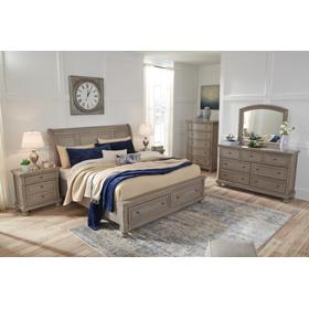 Lettner 4 PC California King Bedroom Set W/Storage Footboard Light Gray