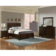 King Merlot 4 PC Bedroom Set - Sleigh Bed with Storage Footboard