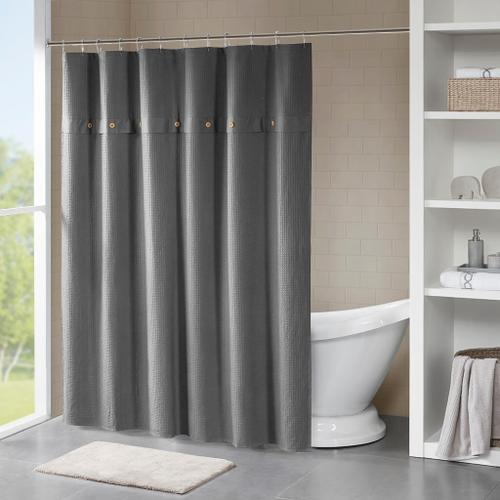 """Product Image - Finley 100% Cotton Grey Waffle Weave Textured Shower Curtain (72"""" x 72"""")"""