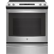 GE 5.3CF Stainless Steel Slide In Convection Range with Steam/Self Clean