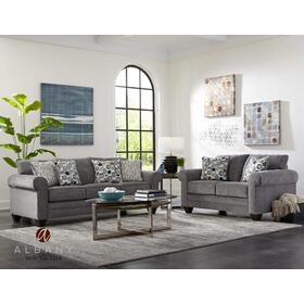 Smoke Poly Chenille Stationary Sofa
