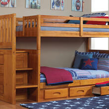 Honey Stair Stepper Twin over Twin Bunk Bed