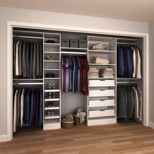 84 in. H x 90 in. to 180 in. W x 15 in. D White Melamine Reach-In Closet Kit