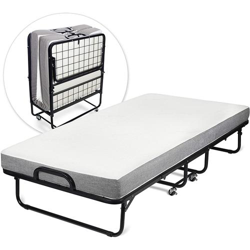 Milliard Diplomat Folding Bed  Cot Size - with Luxurious Memory Foam Mattress and a Super Strong Sturdy Frame  75 x 39