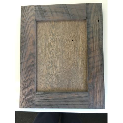 Material: Reclaimed Oak, Finish: Classic Gray Stain/Dull, Frame: Square, Panel: Reverse G-Cove, Edge: Eased, Texture: Light Roughness