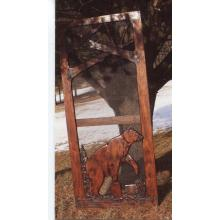 Handmade rustic wooden screen door featuring a bear.