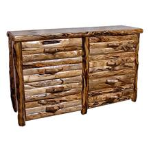 8 Drawer Dresser Log Front Natural Panel Gnarly Log