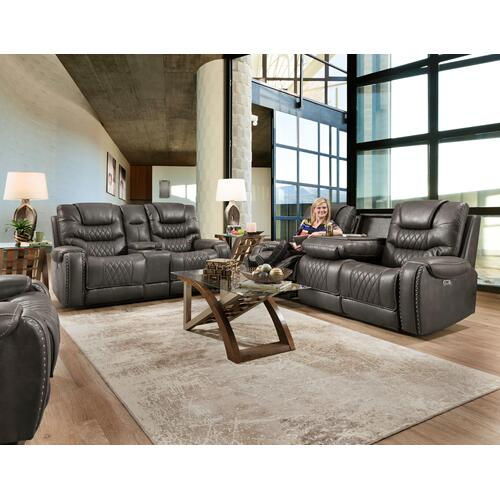 Gallery - Desert Charcoal Manual Reclining Sofa with Drop Down Table and Reclining Console Loveseat