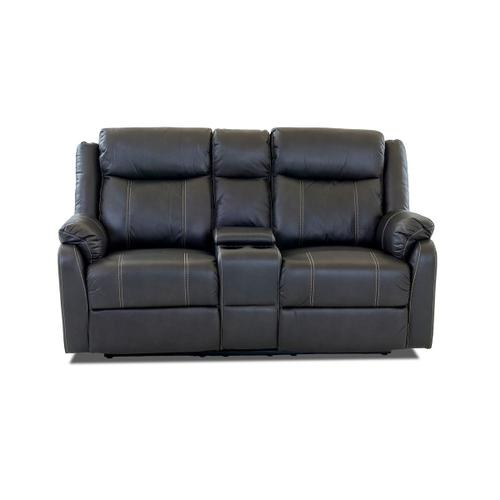Domino Valor Carbon Reclining Loveseat with Console