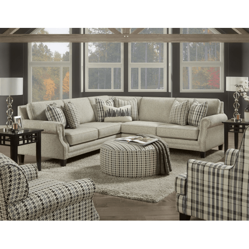 Grey Studded Sectional & Accent Pillows