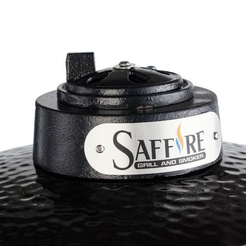 "Saffire Kamado - Bronze - Med 15"" - Black w/ Cart & Shelves"