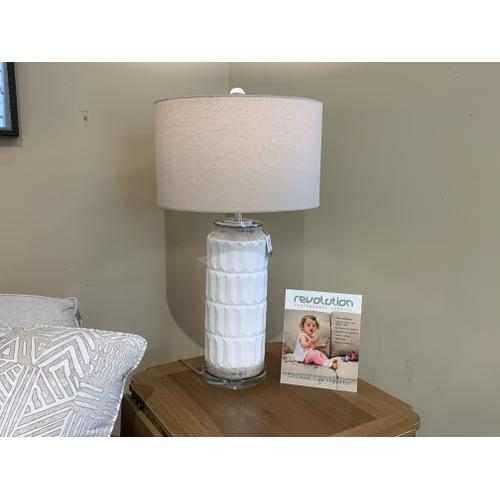 White Decorative Lamp with Linen Drum Shade