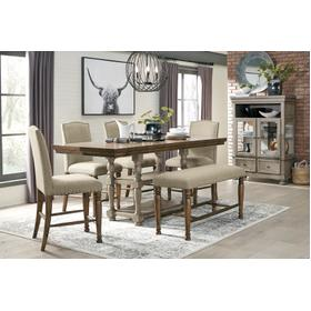 Lettner Table & 4 Barstools & Bench Gray/Brown