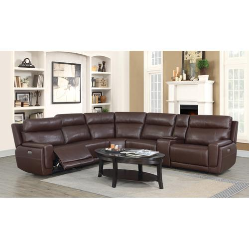 Klaussner - Klaussner Leather Sectional with Power Headrest and Power recliners