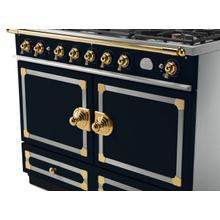 See Details - CornuFe 110 Induction Range - Dark Navy Blue with Stainless Steel and Polished Brass Trim