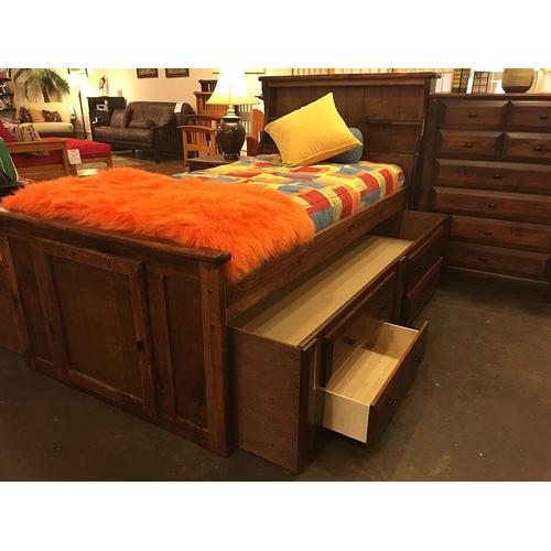"""Twin Captains Bed W"""" 4 Drawers Black Cherry"""
