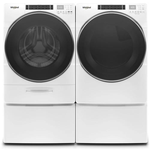 WHIRLPOOL Load & Go XL Dispenser 5.0 Cu.Ft. Front Load Washer & 7.4 Cu.Ft. Electric Dryer with Pedestals - White