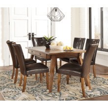 Centiar - Two-tone Brown - 7 Pc. - Rectangular Table & 6 Lacey Upholstered Side Chairs