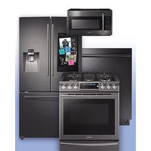 SAMSUNG - Get a Visa Reward Card for 10% off the purchase price of any Samsung 4-piece kitchen package. See Black Stainless Family Hub 3-Door French Door Refrigerator Gas Range Example.