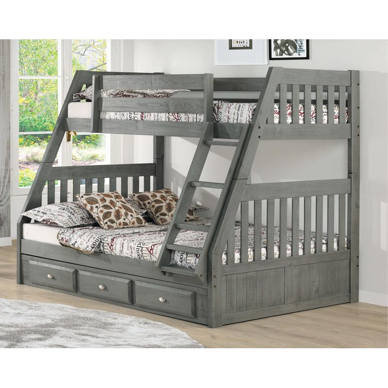 View Product - Twin Over Full Bunk Bed with 3 Drawers - Charcoal
