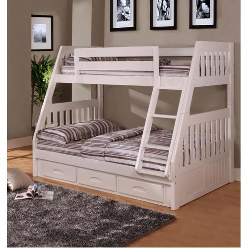 Twin Over Full Bunk Bed with 3 Drawers - White