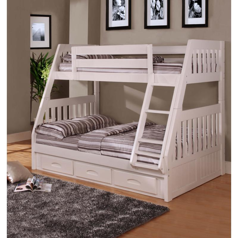 View Product - Twin Over Full Bunk Bed with 3 Drawers - White